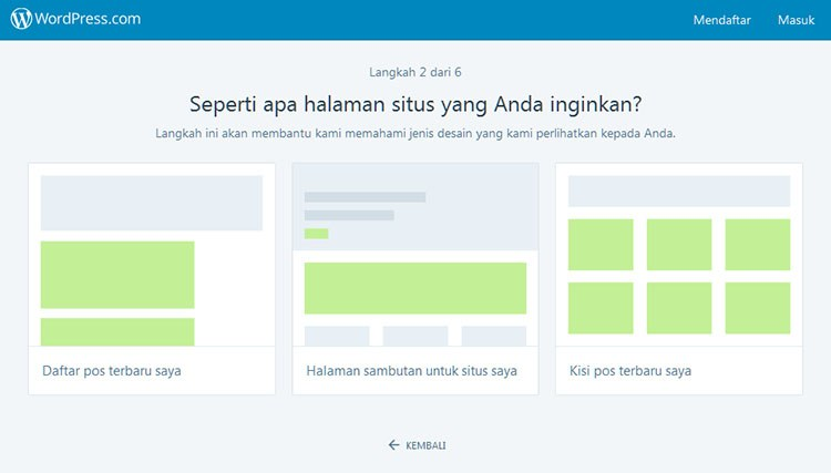 Pilih layout blog WordPress