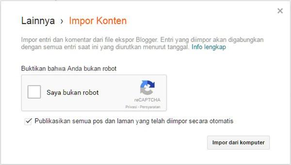 Cara memulihkan (restore) konten Blogger