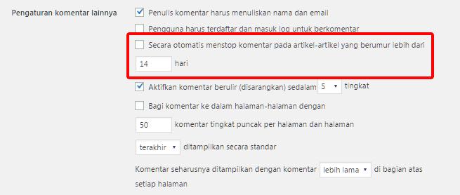 Fitur WordPress yang membatasi waktu pemberian komentar