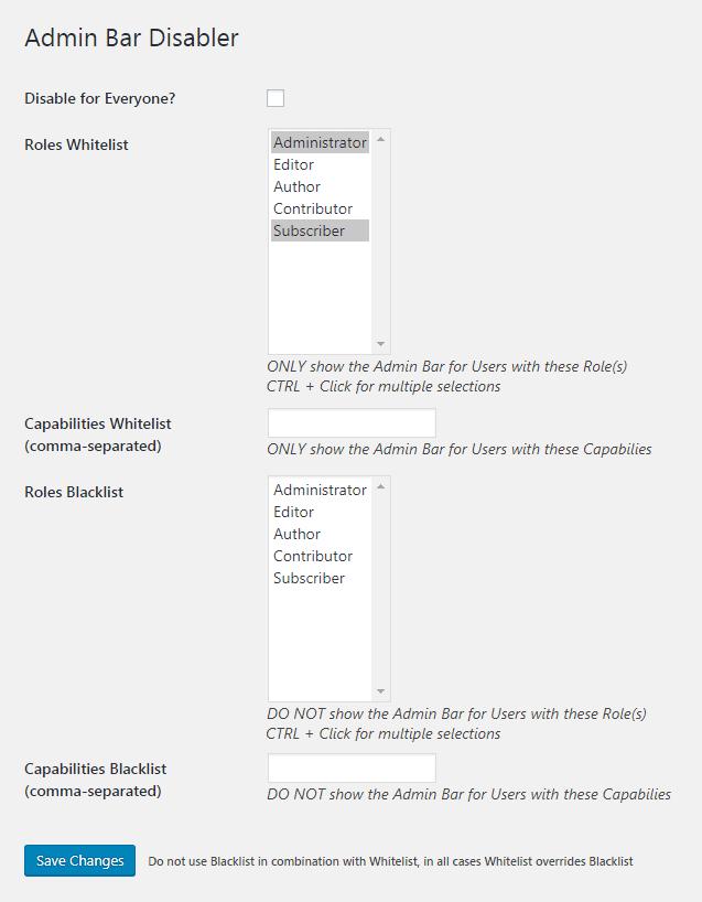 menghilangkan admin bar kecuali admin dan user role tertentu lainnya dengan plugin admin bar disabler