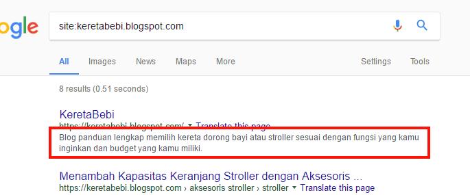 Menggunakan tag meta pada blog Blogger untuk menampilkan deskripsi blog pada hasil pencarian Google