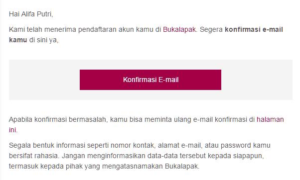 Konfrmasi email untuk membuat akun di BukaLapak