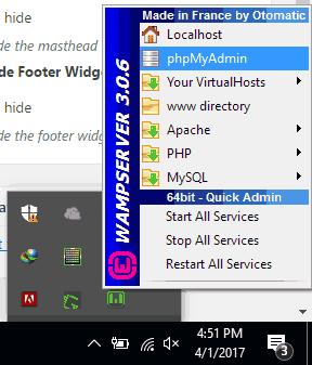 membuka aplikasi phpmyadmin dari WAMP server melalui system tray