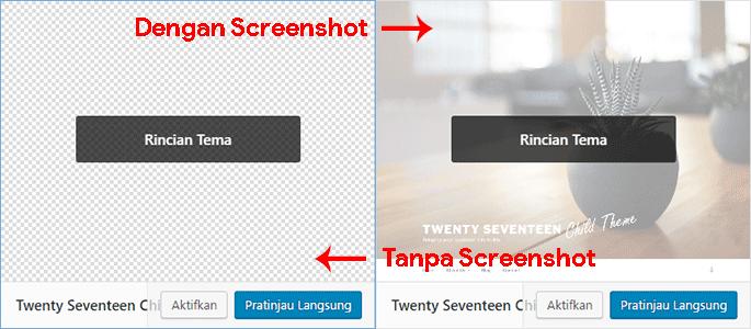 Memberikan screenshot pada child theme akan mempercantik tampilannya pada laman tema wordpress