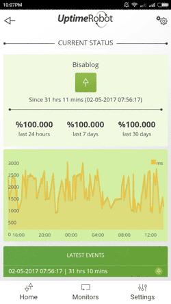 Tampilan aplikasi Uptime Robot - Monitor