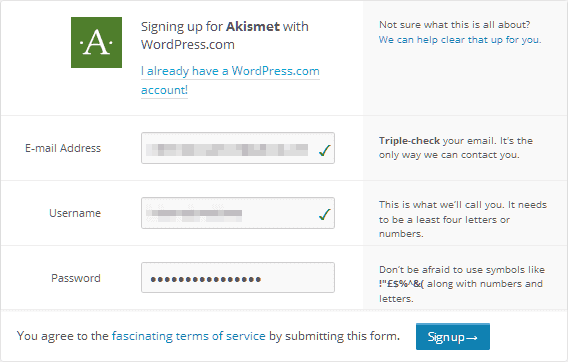 login dengan akun wordpress.com atau daftar akun baru