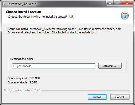 Tentukan lokasi instalasi InstantWP