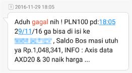 Notifikasi transaksi pulsa melalui SMS