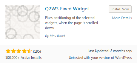 plugin Q2W3 fixed widget untuk membuat sticky widget pada WordPress