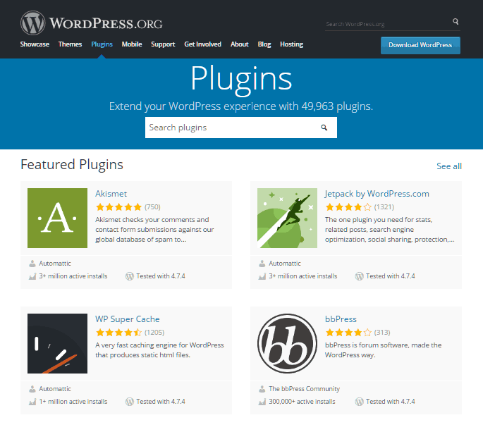 homepage repositori plugin wordpress