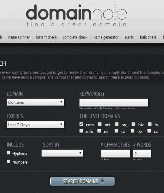 Contoh penggunaan fitur expired search pada domainhole