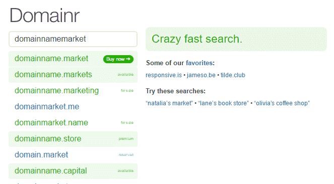mencari nama domain unik dengan domainr