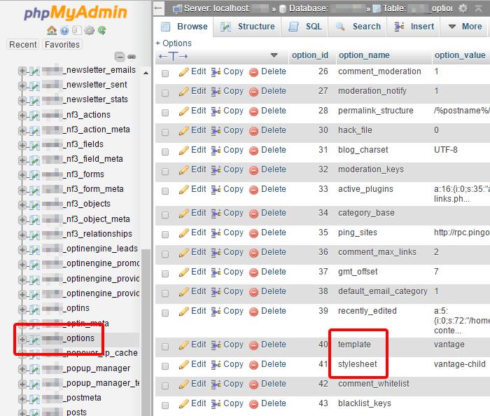 Ubah tema wordpress melalui phpmyadmin