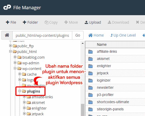 Menonaktifkan semua plugin WordPress dengan mengubah nama folder plugin melalui file manager cPanel