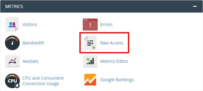 Akses fitur Raw Access dari cPanel untuk melacak IP hacker pada website WordPress