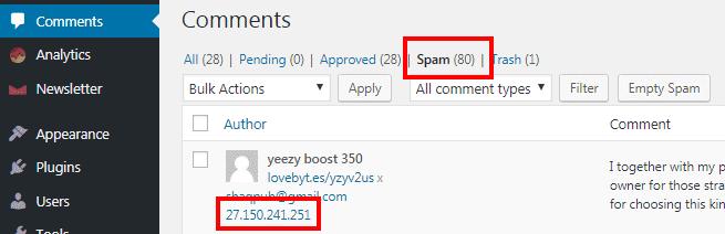 Deteksi alamat ip spammer melalui menu komentar pada dasbor wordpress
