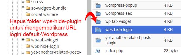Hapus folder plugin wps-hide-login untuk mengembalikan URL login default WordPress