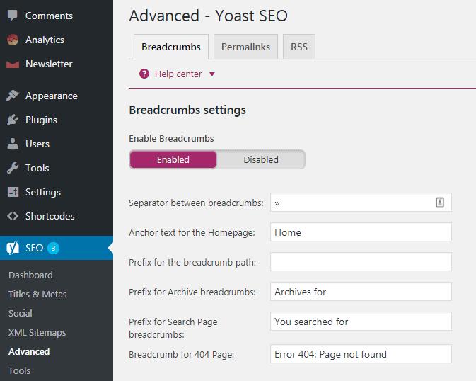 Menambahkan fitur breadcrumbs pada website WordPress dengan plugin Yoast SEO