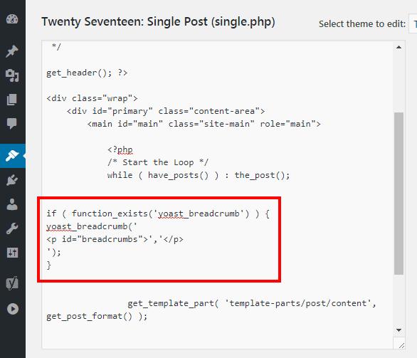 Menambahkan kode breadcrumbs yoast seo pada file single.php dari tema twentyseventeen