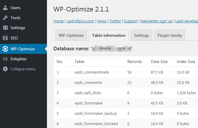 Cek ukuran database pada wordpress melalui plugin wp optimize