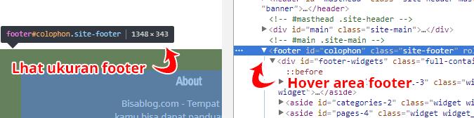 Cek ukuran elemen web footer dengan developer tools dari chrome atau mozilla