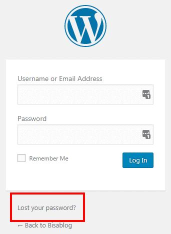 Klik tautan Lost Your Password bila kamu kehilangan password admin