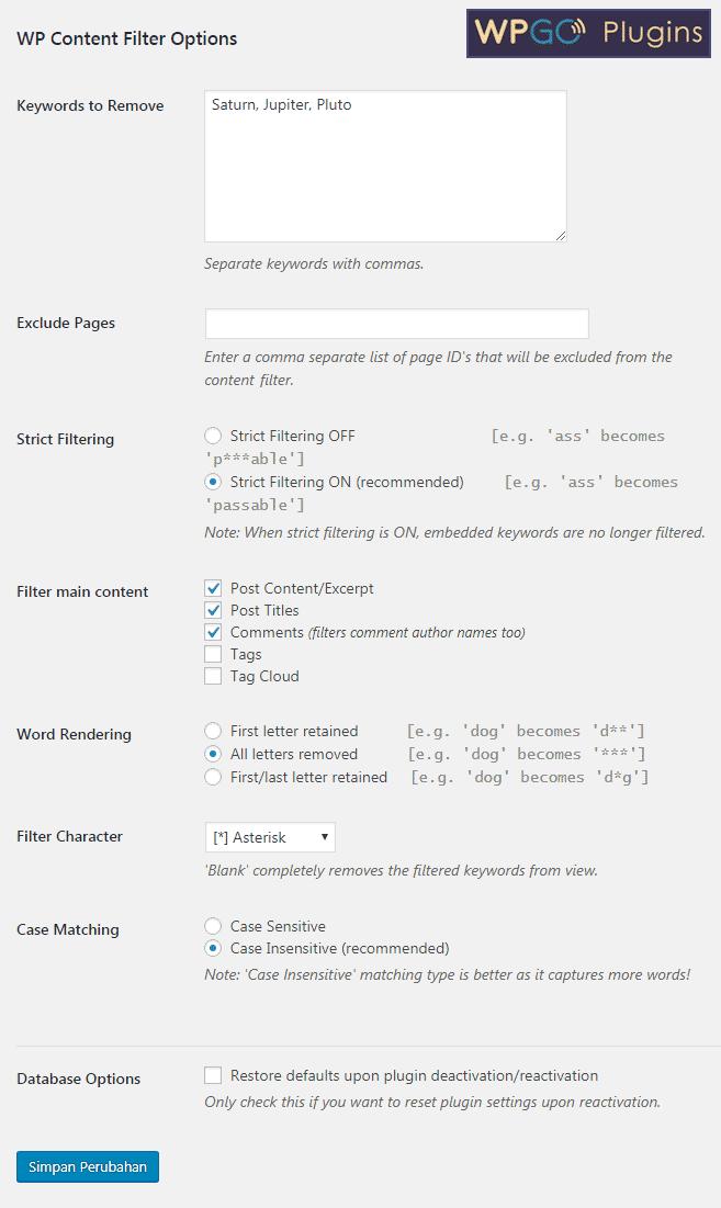 Menu pengaturan plugin WP Content Filter untuk mensensor kata-kata yang tidak diinginkan pada WordPress