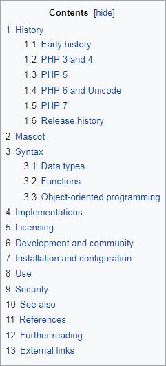 Contoh daftar isi (table of contents) pada Wikipedia untuk mempermudah pembaca menemukan informasi yang mereka cari