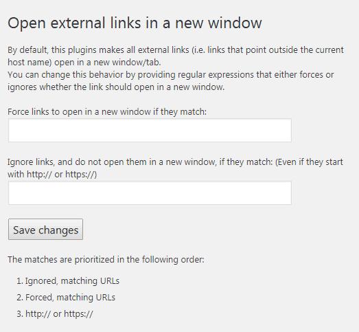 Menu pengaturan plugin open external links in new window