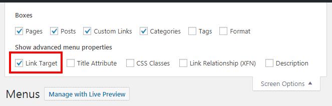 Pilih opsi link target pada screen option untuk memunculkan fitur open link in a new tab pada link menu