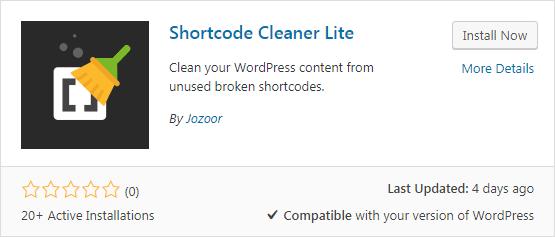 Plugin Shortcode Cleaner Lite untuk menghapus shortcode tak terpakai pada WordPress
