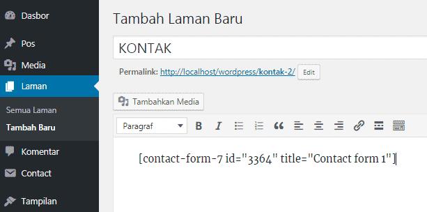 Menambahkan shortcode Contact Form 7 pada laman untuk memunculkan form kontak
