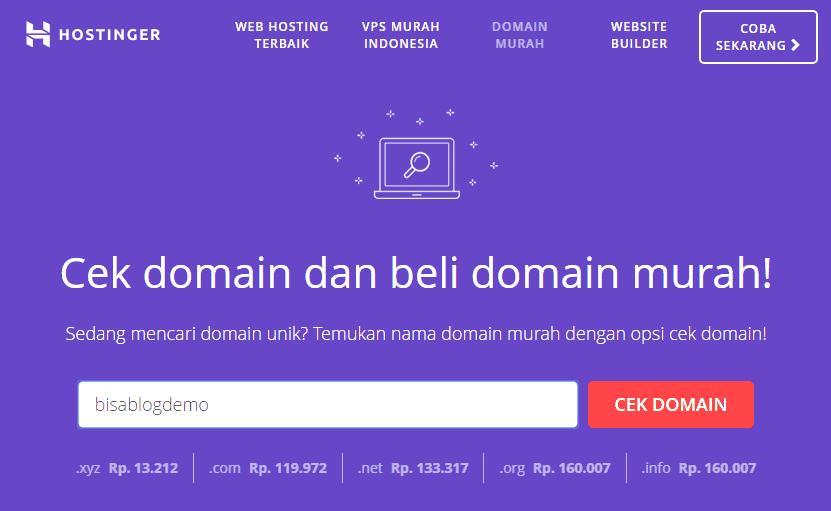 Cek ketersediaan nama domain di Hostinger
