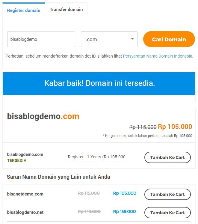 Cek ketersediaan nama domain di Niagahoster
