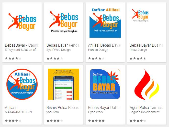 Deretan aplikasi Android yang mencantumkan nama BebasBayar