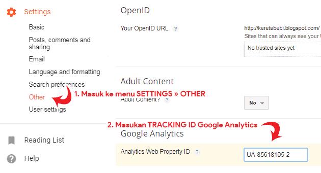 Cara pasang Google Analytics di Blogger