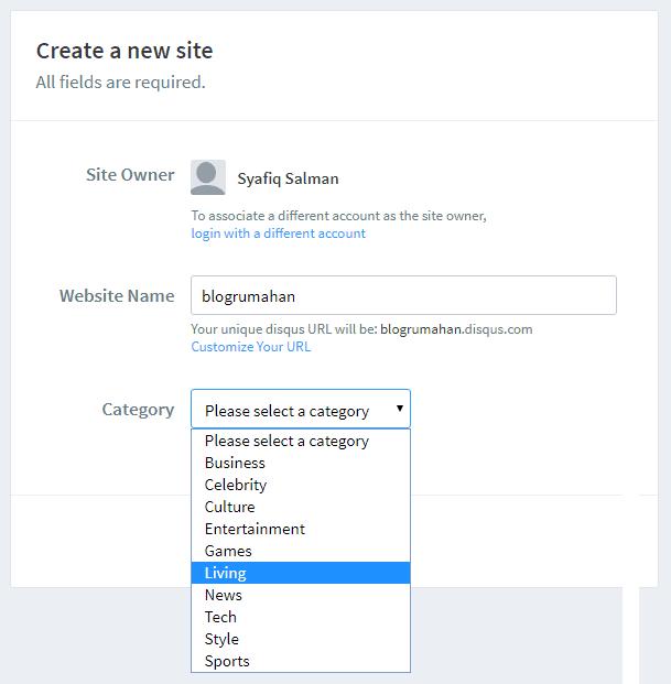 Daftarkan situs ke Disqus dan pilih kategorinya