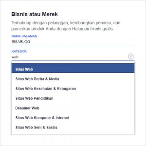 Pilihan kategori facebook page untuk blog