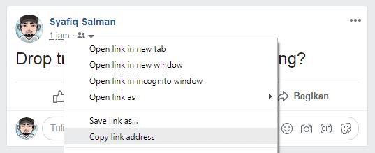 Cara melihat link status Facebook