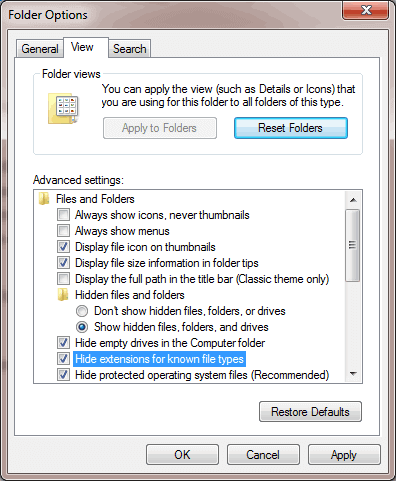 Opsi Hide Extensions for Known File Types pada Folder Option Windows