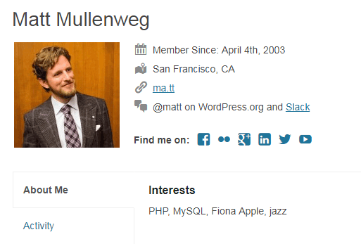 Profil WordPress Matt Mulenweg