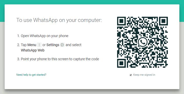 Tampilan WhatsApp web dengan QR Code yang harus kita scan untuk menghubungkan WA di handphone dan komputer