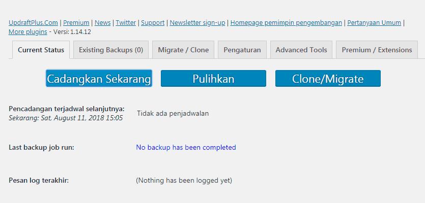 Cukup klik tombol CADANGKAN SEKARANG untuk membuat backup WordPress dengan plugin UpdraftPlus