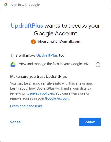 Izin akses Google Drive UpdraftPlus