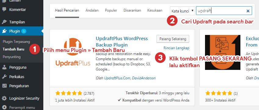 Cara pasang plugin wordpress UpdraftPlus dan mengaktifkannya