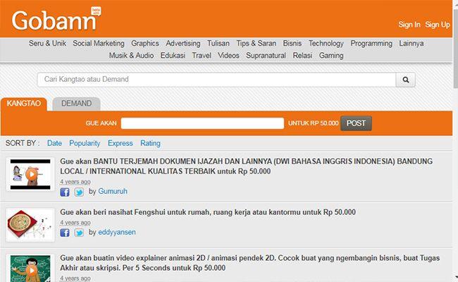 Situs freelance terbaik dan terpercaya di Indonesia Gobann