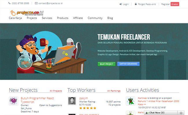 Situs freelance terbaik dan terpercaya di Indonesia projects.co.id