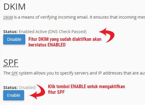 Fitur Autentikasi DKIM dan SPF untuk mencegah email spam dari dan ke server hosting