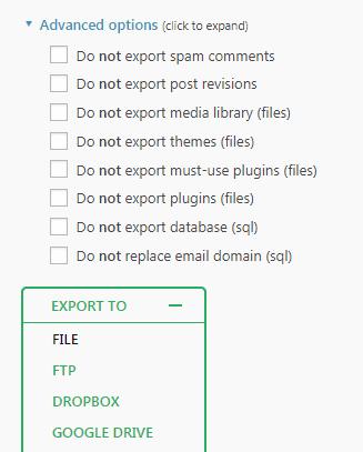Export file WordPress dengan plugin All-in-One WP Migration