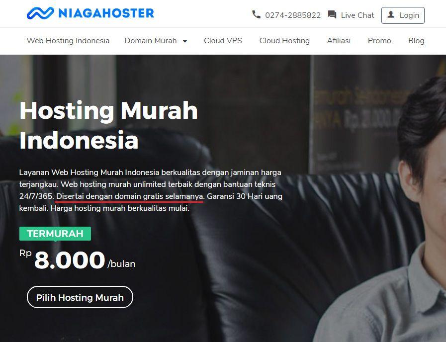 Contoh paket hosting murah gratis domain .com
